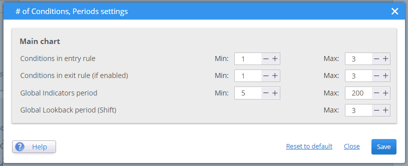 SQ number of conditions, periods, shifts config
