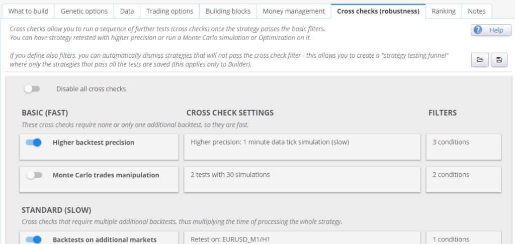 StrategyQuant cross checks config