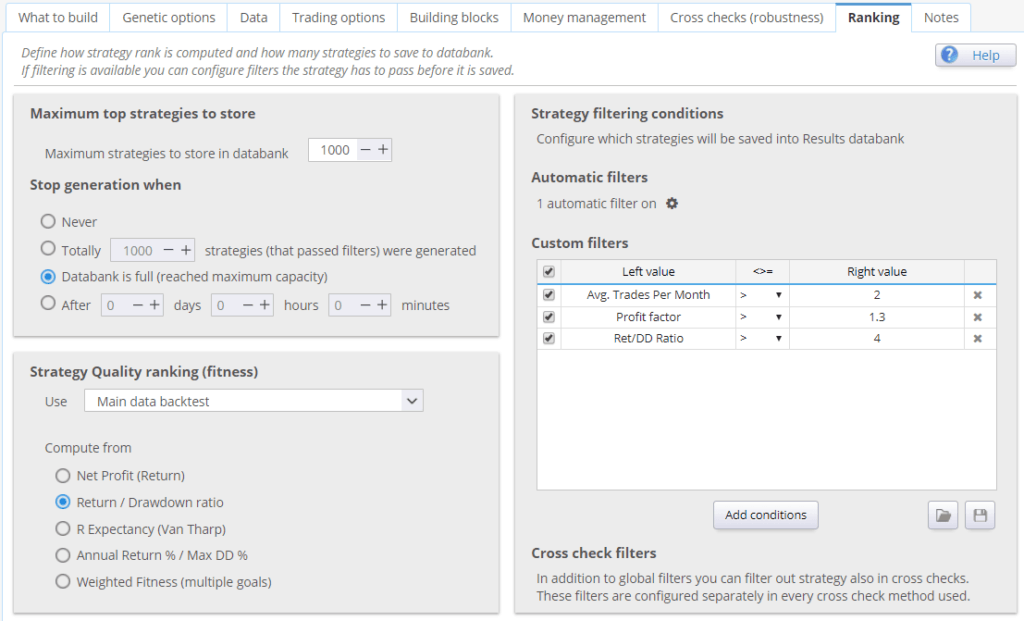 StrategyQuant ranking and filtering conditions
