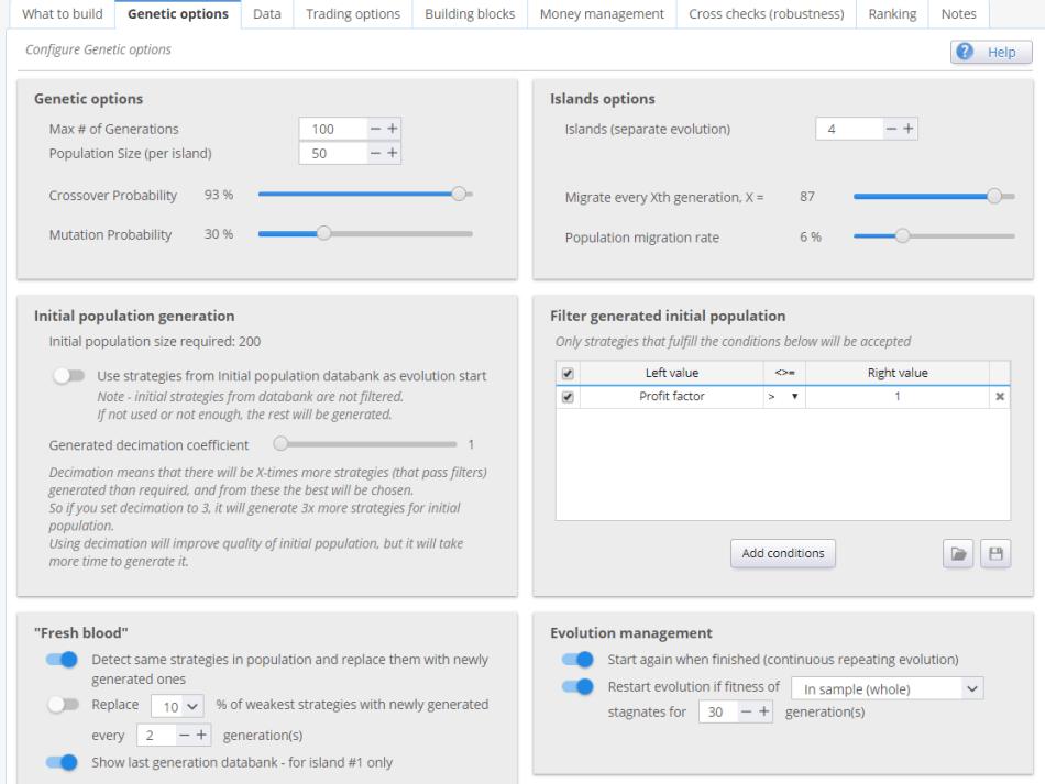 SQ genetic options settings