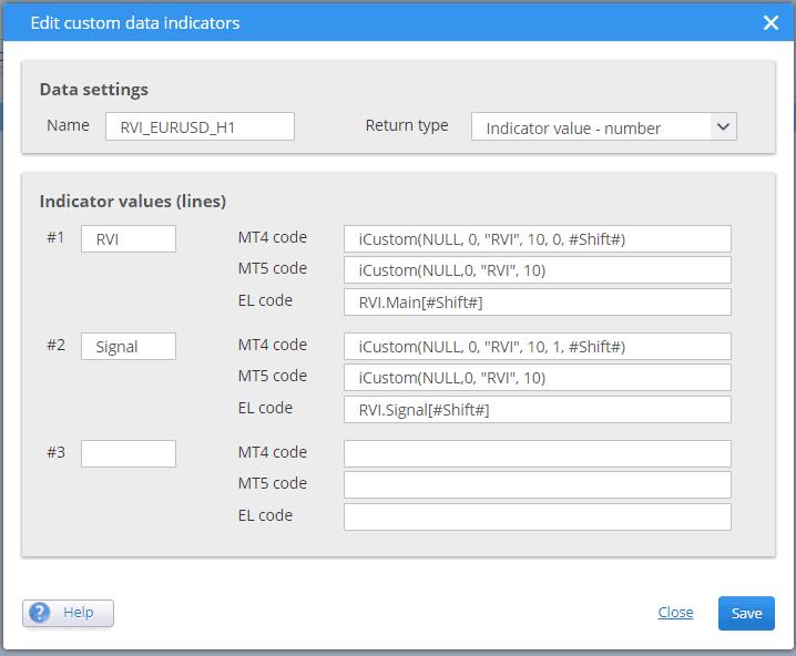 Add custom data indicator