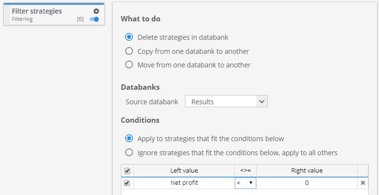 Filter strategies custom project task
